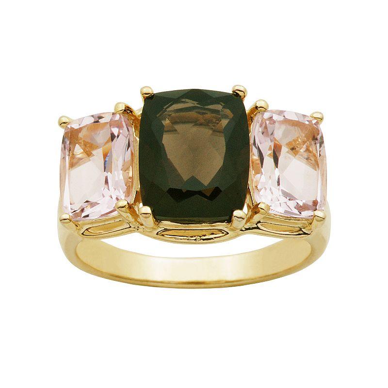 Smoky Quartz and Pink Quartz 18k Gold Over Silver 3-Stone Ring