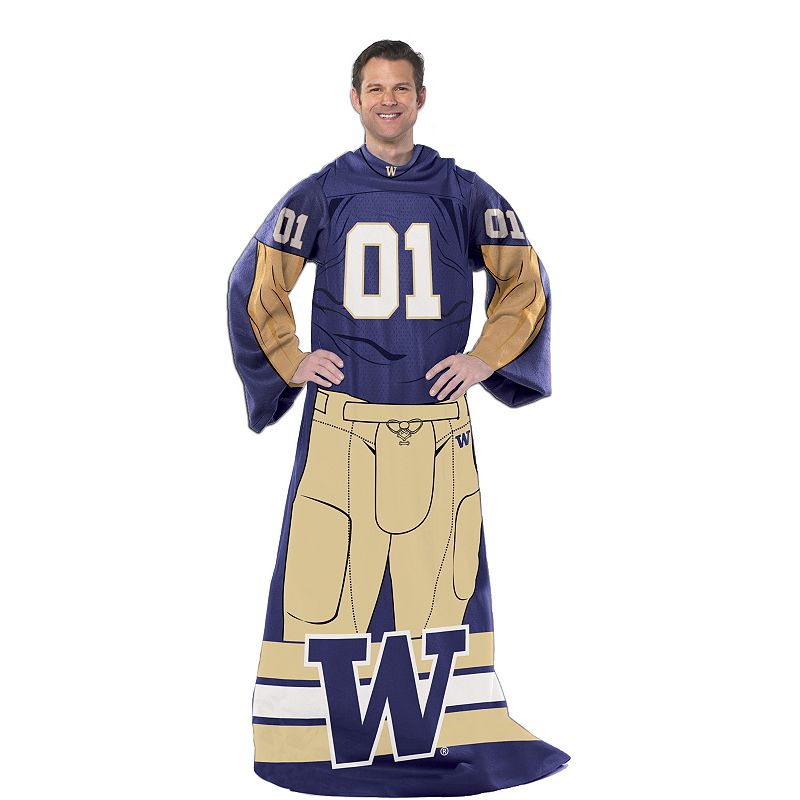 Washington Huskies Uniform Comfy Throw Blanket with Sleeves by Northwest