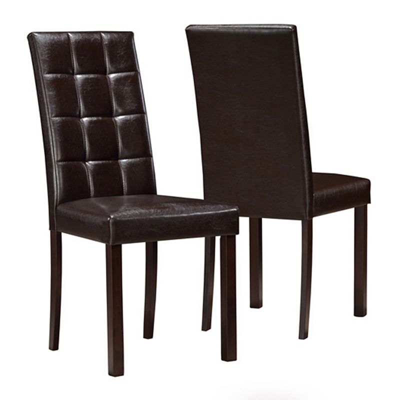 Monarch 2 piece Faux Leather Dining Chair Set