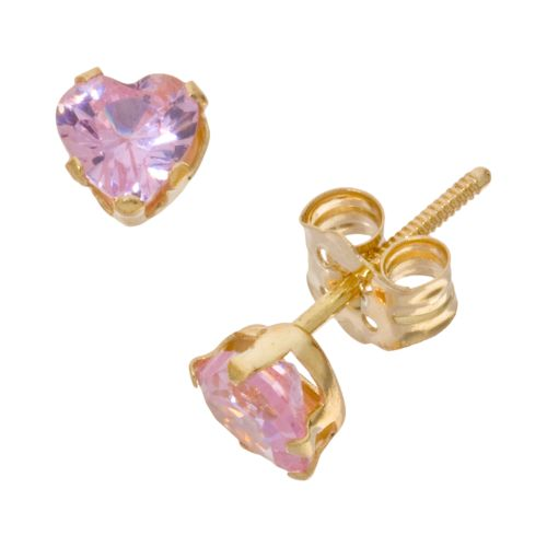 14k Gold Pink Cubic Zirconia Heart Earrings - Kids