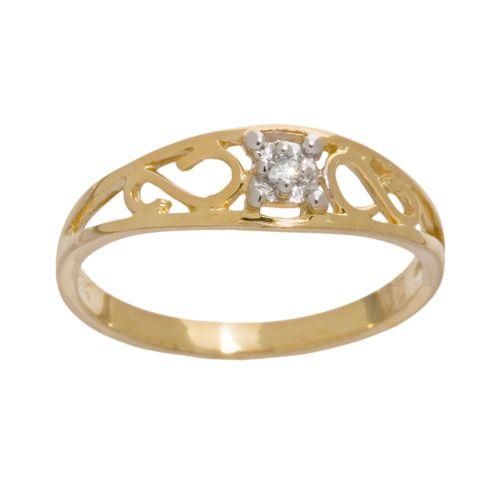 10k Gold Diamond-Accented Filigree Ring - Kids