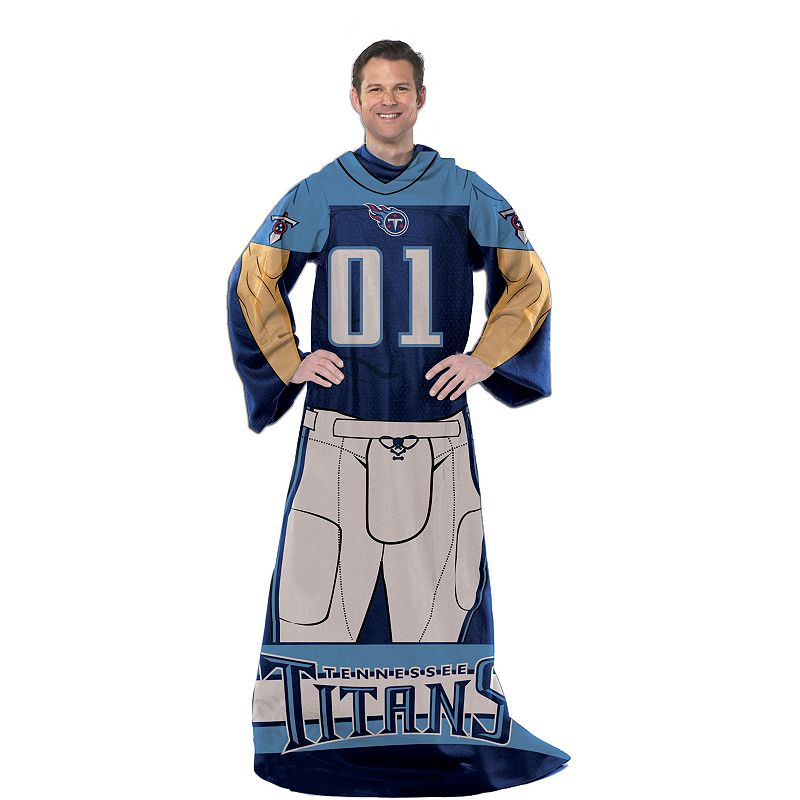 Tennessee Titans Uniform Comfy Throw Blanket with Sleeves by Northwest