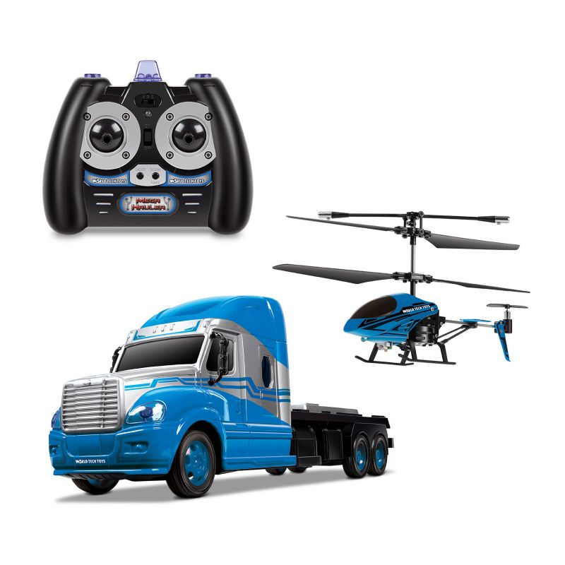 World Tech Toys MegaHauler Helicopter and Remote Control Truck Set, Blue thumbnail