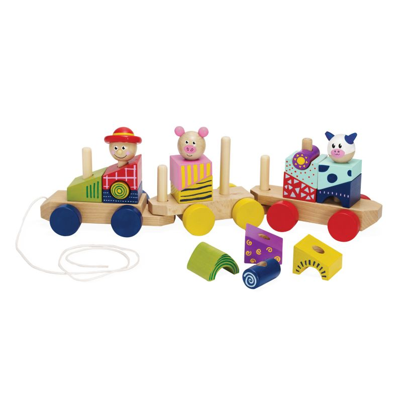 Stack and Pull Train by Manhattan Toy, Multicolor thumbnail