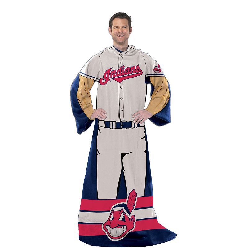Cleveland Indians Uniform Comfy Throw Blanket with Sleeves by Northwest