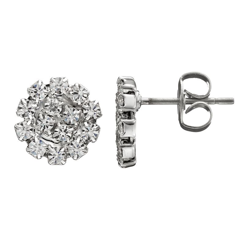 Duchess of Dazzle Crystal Silver Tone Circle Stud Earrings