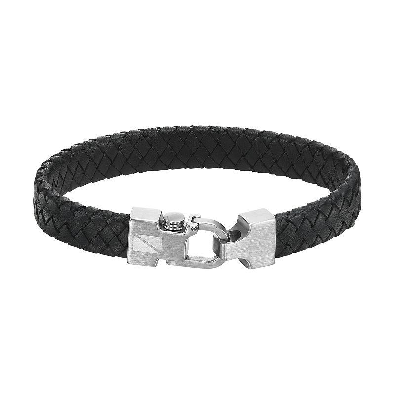 AXL by Triton Stainless Steel Leather Bracelet - Men