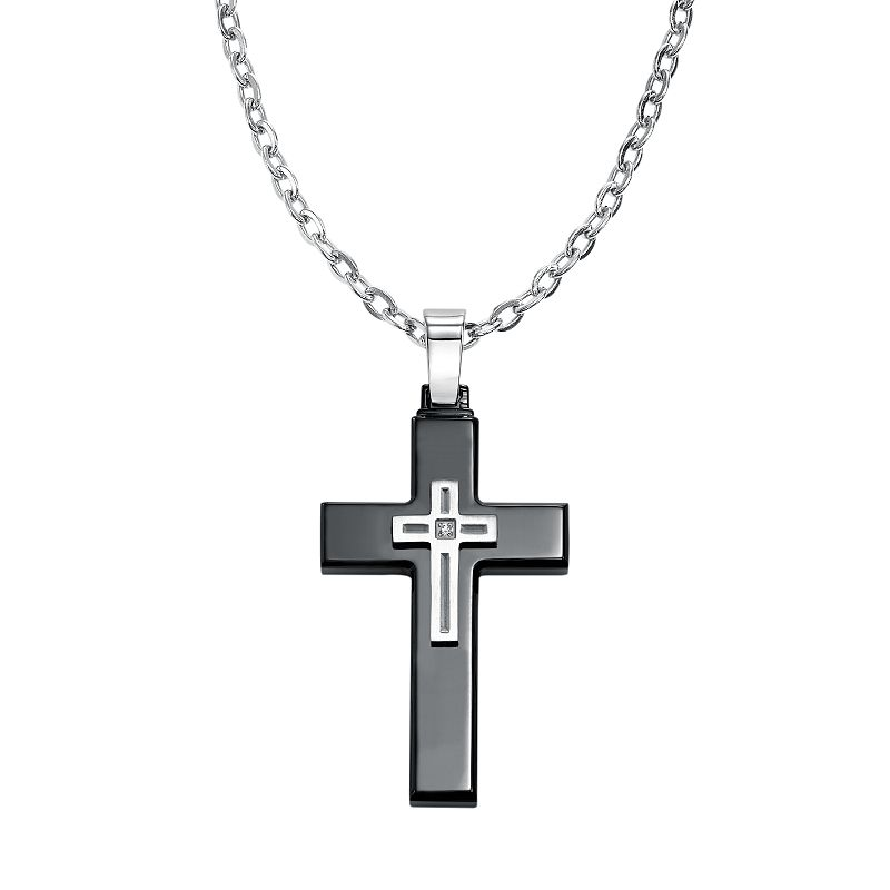 AXL by Triton Diamond Accent Stainless Steel & Black Ion-Plated Stainless Steel Cross Pendant Necklace - Men