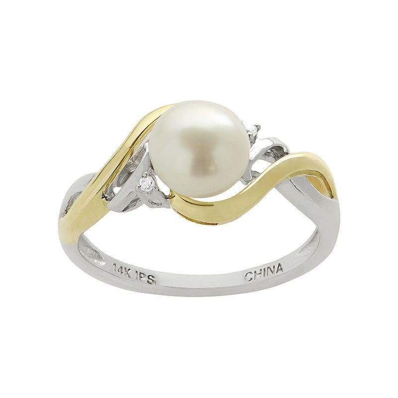 PearLustre by Imperial Freshwater Cultured Pearl and Diamond Accent 14k Gold Two Tone Ring