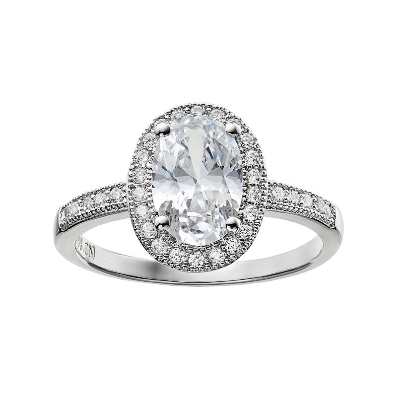 The Silver Lining Cubic Zirconia Silver Tone Oval Halo Ring