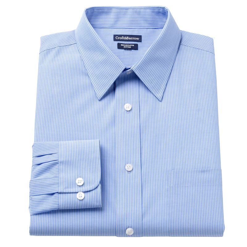 Men's Croft & Barrow® Fitted Mini-Striped Broadcloth Point-Collar Dress Shirt