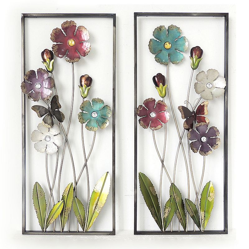 2-piece Flower Metal Wall Decor Set