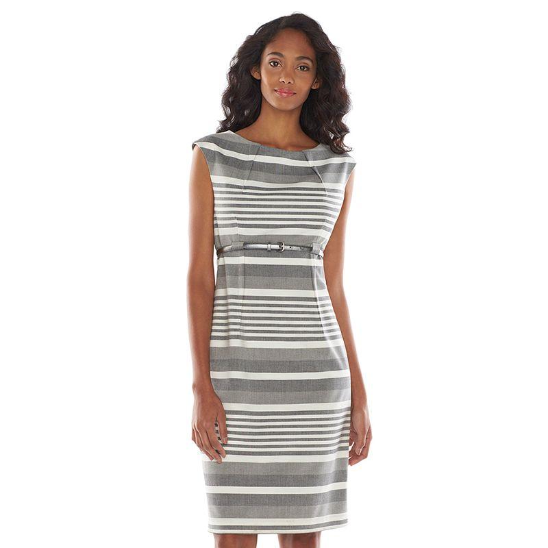 Dana Buchman Striped Pleated Sheath Dress - Women's