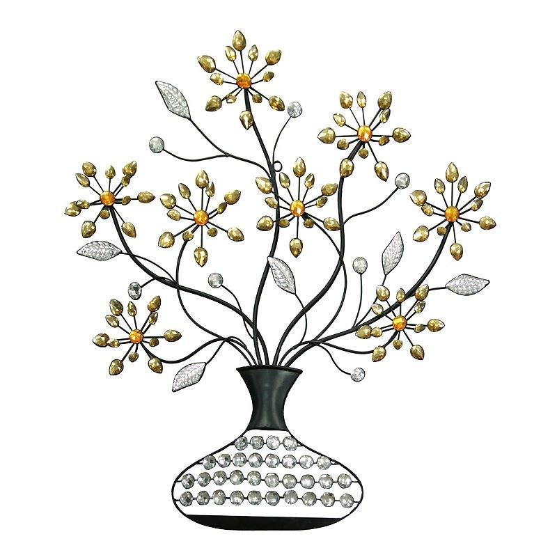 Crystal Flowers Metal Wall Decor