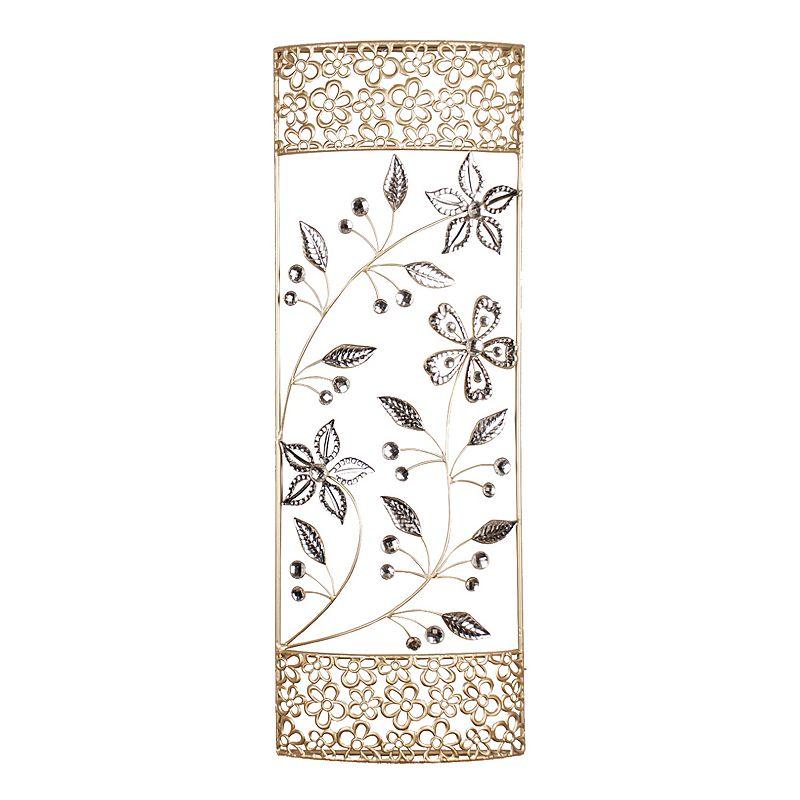Floral Panel Metallic Metal Wall Decor