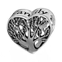 Individuality Beads Sterling Silver Family Tree Heart Bead