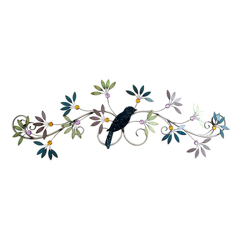 Jewelled Wall Decoration : Blackbird scroll metal wall decor