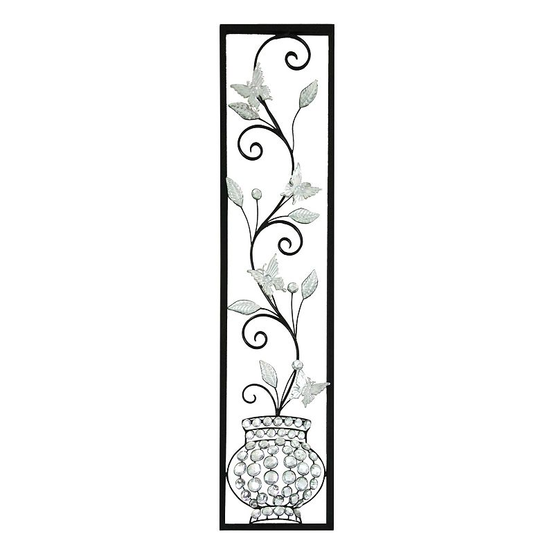 Jewelled Wall Decoration : Jeweled butterfly panel metal wall decor dealtrend