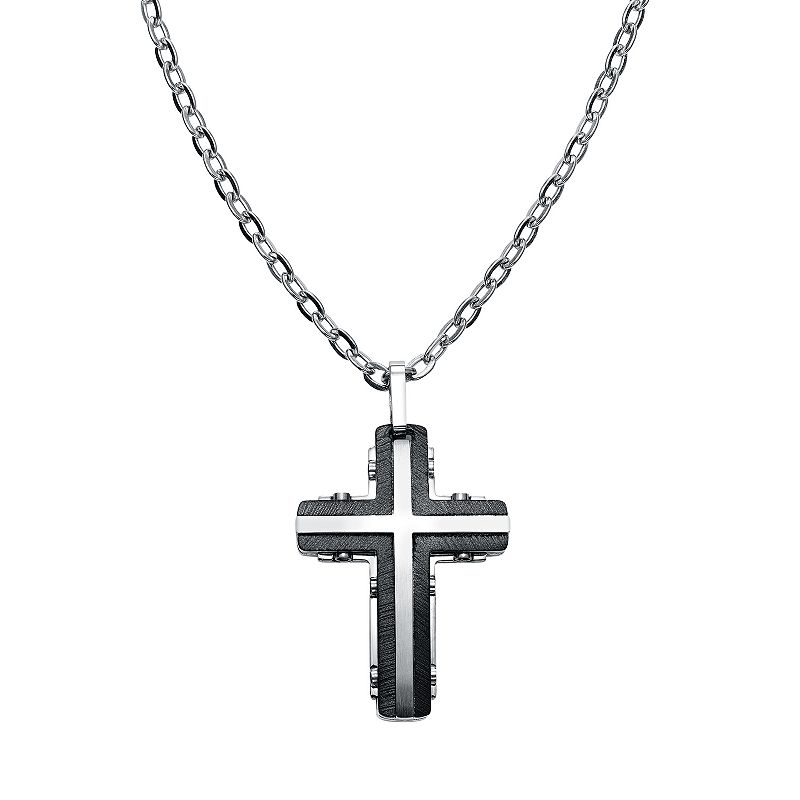 AXL by Triton Stainless Steel Two Tone Cross Pendant Necklace - Men