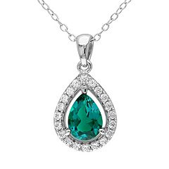 Lab-Created Emerald & Lab-Created White Sapphire Sterling Silver Teardrop Halo Pendant Necklace