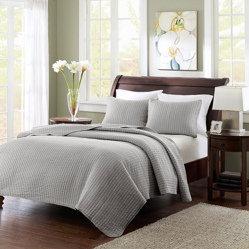 Madison Park Jaxson Gray Coverlet Set