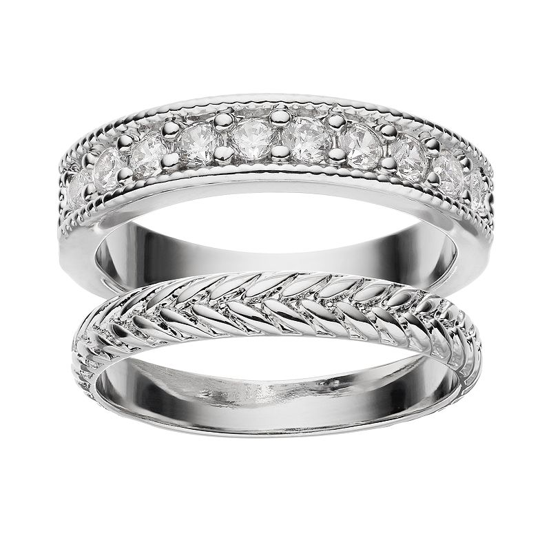 Cubic Zirconia Silver-Plated Braided Ring Set