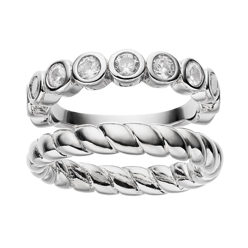 Cubic Zirconia Silver-Plated Twisted Ring Set