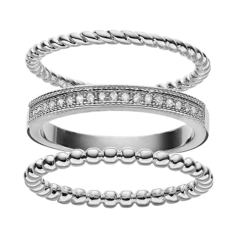 Cubic Zirconia Silver-Plated Textured Ring Set