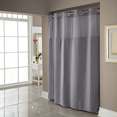 Dobby Pique Mystery Hookless Gray Fabric Shower Curtain by
