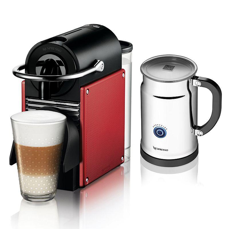 Nespresso Pixie Espresso Machine and Aeroccino+ Plus Milk Frother Set