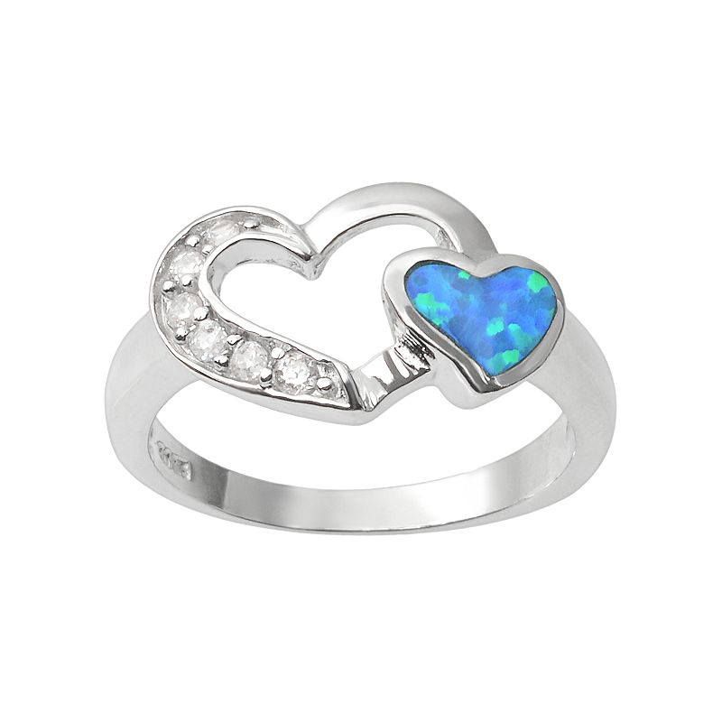 Journee Collection Simulated Opal and Cubic Zirconia Sterling Silver Heart Ring