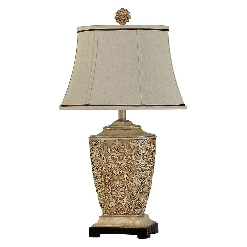 Cream Carved Table Lamp