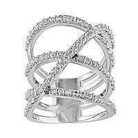 White Topaz Sterling Silver Crisscross Ring