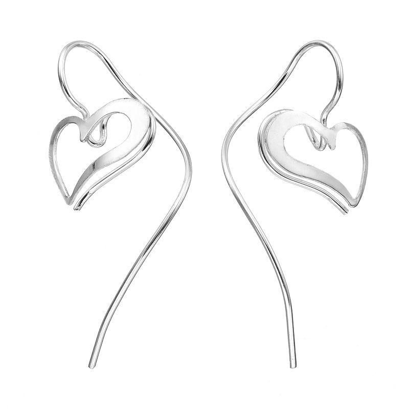 Journee Collection Sterling Silver Heart Drop Earrings