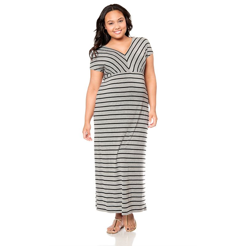 Plus Size Maternity Oh Baby by Motherhood™ Striped Empire Maxi Dress