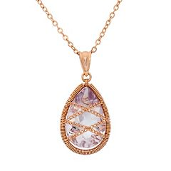 Amethyst 18k Rose Gold Over Silver Chain-Wrapped Teardrop Pendant Necklace by