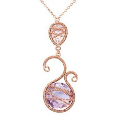 Amethyst 18k Rose Gold Over Silver Scrollwork & Chain-Wrapped Necklace by