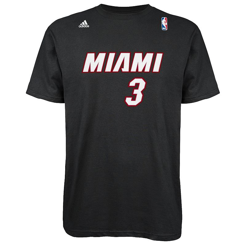 Men's adidas Miami Heat Dwyane Wade Player Name and Number Tee
