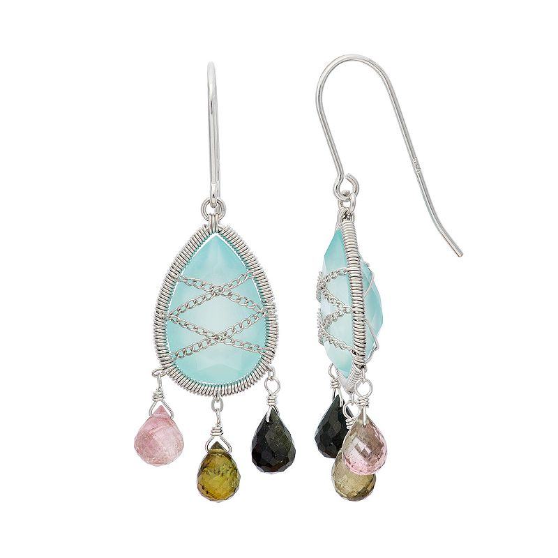 Chalcedony and Tourmaline Sterling Silver Chain-Wrapped Teardrop Earrings