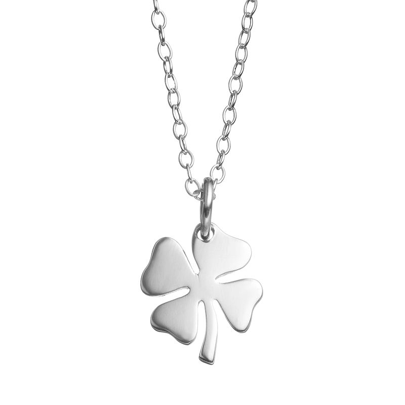 Journee Collection Sterling Silver Four Leaf Clover Pendant Necklace