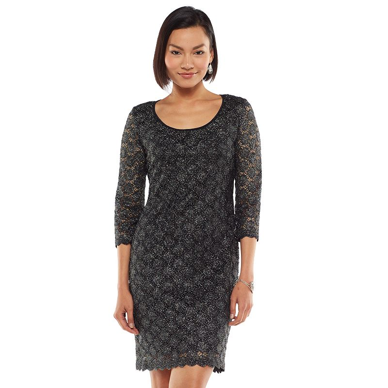 Women's Ronni Nicole Glitter Lace Scoopneck Sheath Dress