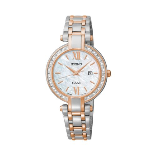 Seiko Women's Tressia Diamond Two Tone Stainless Steel Solar Watch - SUT184