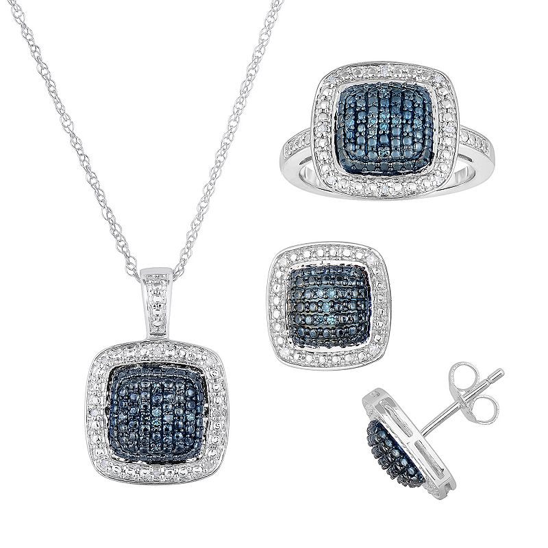 1/3 Carat T.W. Blue and White Diamond Sterling Silver Square Halo Pendant Necklace, Ring and Stud Earring Set