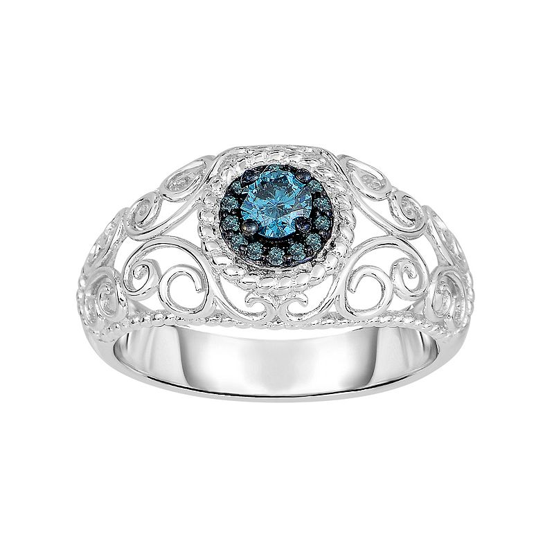 1/3 Carat T.W. Blue Diamond Sterling Silver Halo Filigree Ring