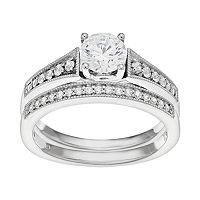 14k White Gold 1 Carat T.W. IGL Certified Diamond Engagement Ring Set