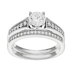 14k White Gold 1 Carat T.W. IGL Certified Diamond Engagement Ring Set by