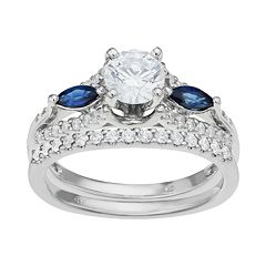 14k White Gold 1 1/6 Carat T.W. IGL Certified Diamond & Sapphire Engagement Ring Set by