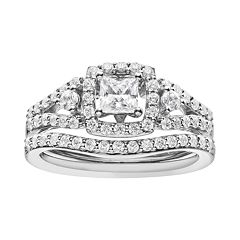 14k White Gold 1 Carat T.W. IGL Certified Diamond Tiered Square Engagement Ring Set  by