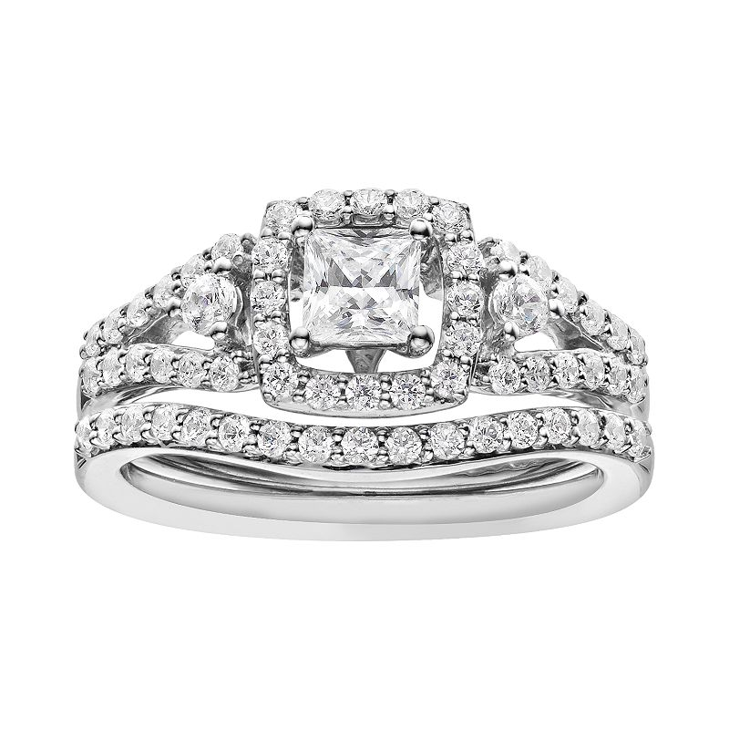 14k White Gold 1 Carat T.W. IGL Certified Diamond Tiered Square Engagement Ring Set