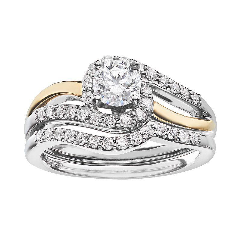 14k Gold 7/8 Carat T.W. IGL Certified Diamond Two Tone Swirl Engagement Ring Set